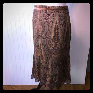 Silk Ann Klein A-Line Brown Flirty Skirt 12P